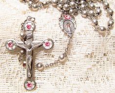 Sterling Silver Rosary Guilloche Enamel by ViksVintageJewelry, $125.00