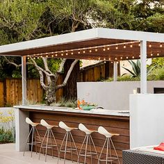Bar - A Hillside Garden's Ingenious Design - Sunset                                                                                                                                                                                 More