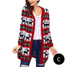 da3f724798 Reindeer Christmas cardigan for women red and green sweater