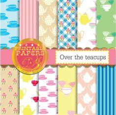 Tea party digital paper 'over the teacups' garden by GemmedSnail  https://www.etsy.com/listing/180025915/tea-party-digital-paper-over-the-teacups?ref=shop_home_active_6