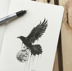 Creative artist Kerby Rosanes, an illustrator based in Manila, Philippines. Kerby Rosanes uses ink primarily in their drawings. For more drawings →View Website Corvo Tattoo, Rabe Tattoo, Raven Art, Viking Tattoos, Body Art Tattoos, Fox Tattoos, Tree Tattoos, Deer Tattoo, Tattoo Ink