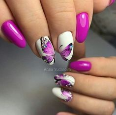 Butterfly nail art designs are loved by women because of its cute, colorful, beautiful patterns and symbolic significance, or simply because the design of butterfly nails has produced attractive effects on nails. Nail Art Blog, Gel Nail Art, Nail Manicure, Purple Nail Designs, Best Nail Art Designs, Funky Nail Art, Cute Nail Art, Purple Acrylic Nails, Pink Nails