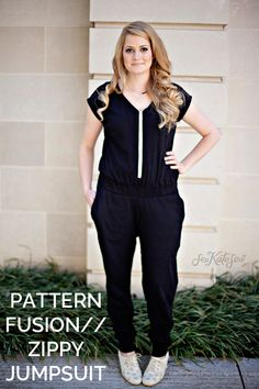 Pattern fusion // zippy top turned DIY jumpsuit