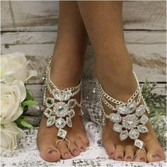 barefoot sandals - silver -wedding- foot jewelry - diamante - rhinestone