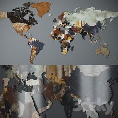 World map. CNC cutting of marble.
