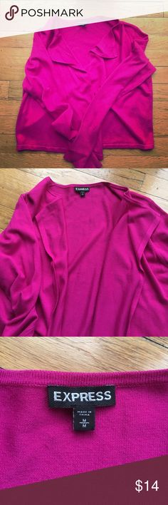 Express open front cropped cardigan! Super comfortable open front cropped cardigan. Bright fuschia, looks awesome with black/white. Worn once, like-new condition! Express Sweaters Cardigans