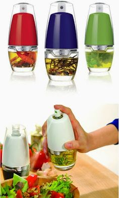 Kitchen Gadgets You Didn't Know Existed - love this oil mister you can add herbs too! Cool tip/ Great Idea/ Want this now/ Cool tool/ Kitchen and Bedroom Gadgets/ Cool Tech Idea Cool Kitchen Gadgets, Kitchen Items, Kitchen Utensils, Kitchen Hacks, Kitchen Appliances, Kitchen Stuff, Kitchen Products, Top Gadgets, Kitchen Gifts