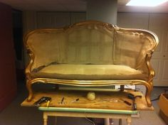 How To Reupholster a Vintage Settee.  Great step-by-step instructions on how to upholster an old couch!