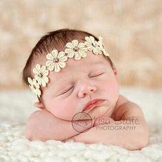 Newborn Flower Headband for Kids Hair Accessories Summer Style Flower Rhinestone Hair Band Photography Props
