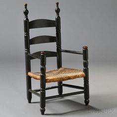 Black-painted Child's Slat-back Armchair | Sale Number 2669M, Lot Number 184 | Skinner Auctioneers