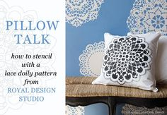 This lace stencil pattern is perfectly sized for craft, fabric and furniture DIY stencil projects for seasonal Christmas dinner party decorations including table runners, placemats, and tree skirts. Lace Stencil, Stencil Fabric, Stencil Patterns, Stencil Diy, Doily Patterns, Painting Patterns, Stenciling, Stencil Material, All You Need Is