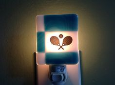 Fused Glass Sports Night Light Tennis by LaGlasSea on Etsy