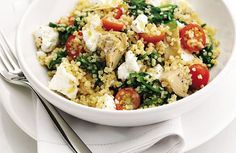 Feta, artisjok, tomaatjes, spinazie.