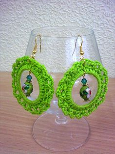 Bright green crochet earrings. by Floristo4ka on Etsy