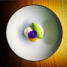 """Greek yoghurt basil mango meringue"" By @tomvanlysebettens _____________________________ by tastefullyartistic"