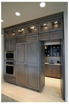 New Kitchen Cabinets Diy Colors Butler Pantry Ideas Kitchen Pantry Doors, Kitchen Pantry Design, Grey Kitchen Cabinets, Corner Cabinets, Armoire Pantry, Wall Pantry, Pantry Diy, Floors Kitchen, Pantry Storage