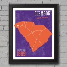 Clemson University Print by UniversityPrints on Etsy, $12.00