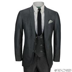 New Mens 3 Piece Black Shawl Lapel Slim Fit Vintage Smart Tux Suit Wedding Prom