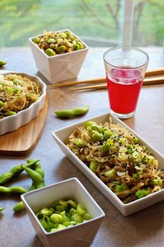 Spaghetti Squash Sesame Noodles with Edamame (I would use fresh ginger and fresh garlic, but idea is good!)