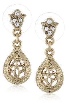 Downton Abbey 'Gilded Age Carded' Gold-Tone Edwardian Filigree Crystal Accent Top Drop Earrings * Check out this great product. (This is an affiliate link) #JewelryForWomen