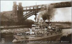 Postcard featuring the German pre-dreadnought battleship SMS Deutschland passing the Levensau High Bridge on the Kiel Canal. http://en.wikipedia.org/wiki/SMS_Deutschland_(1904)