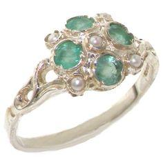 VINTAGE design 925 Solid Sterling Silver Natural Emerald Ring 2UQIK