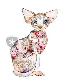 """Ederba the sphynx"" Drawing art prints and posters by Sara Ligari - ARTFLAKES.COM"