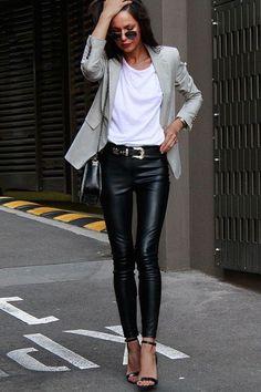 New Fashion Outfits Inspiration Leather Leggings Ideas Fashion Mode, Look Fashion, Street Fashion, Autumn Fashion, Womens Fashion, Fashion Trends, Fashion Styles, Classic Fashion Outfits, Airport Fashion