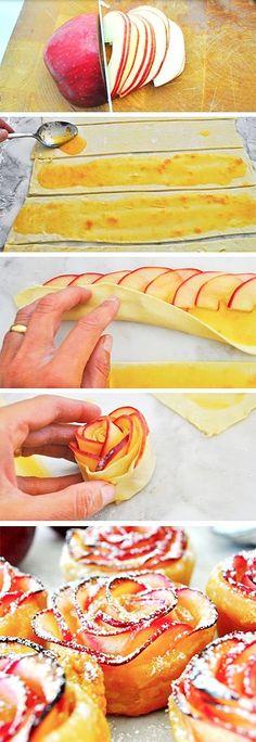 Dietní a překrásný dezert, jablíčka v listovém těstě ve tvaru růže - DIETA.CZ