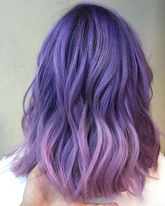 Purple ombre Beauty: Fantasy Unicorn Purple Violet Red Cherry Pink yellow Bright Hair Colour Color Coloured Colored Fire Style curls haircut lilac lavender short long mermaid blue green teal orange hippy boho ombré woman lady pretty selfie style fade makeup grey white silver trend trending multi confetti bob bottle blond blonde hairdresser hairdressers Pulp Riot