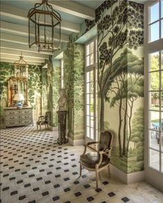 Thompson Custom Homes, Houston, TX.Love the mural painted walls Hand Painted Wallpaper, Painting Wallpaper, Wall Wallpaper, Zuber Wallpaper, Painted Walls, Scenic Wallpaper, Botanical Wallpaper, Botanical Prints, Flur Design