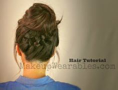 Hair+Tutorial+ +Braided+Messy+Bun Learn 3 Cute, Everyday Casual Hairstyles Updos | Hair Tutorial Videos