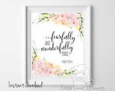 ♥Welcome to Little Emmas Flowers shop!♥ ...fearfully and wonderfully made. Psalm 139:14 Nursery Bible verse ♥No physical item will be