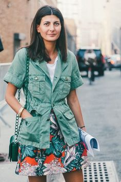 Army green & florals -The Best Street Style From New York Fashion Week - Racked