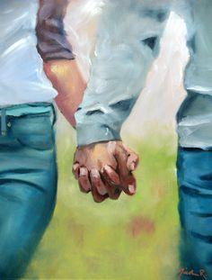 Holding Hands, oil paintings Nicole Roggeman canvas print original artwork 11x14 romance love, couples hands, young love