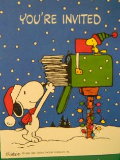 1960's Snoopy Woodstock Christmas Invitations by TheIDconnection, $10.00