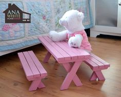 Make a doll picnic table for American Girl or 18 doll.
