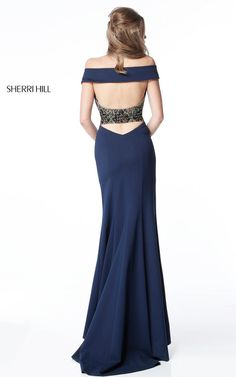 Sherri Hill 51436 Navy Cap Sleeve Fitted Prom Dress
