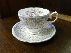 Vintage Royal Bridal Gown Queen Anne Cup and Saucer England Fine China. $15.00, via Etsy.