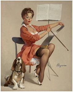 "Wall Art Print-Pinup art-Art Reproduction Vintage Sexy Pin-up Girl Gil Elvgren ""Doggone good(puppy love)"", 1957 Print Pin Up Vintage, Retro Vintage, Vintage Dog, Retro Art, Gil Elvgren, Estilo Pin Up, Pinup Art, Pin Up Illustration, Illustrations"