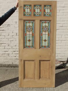 This glass was taken from an original door we refurbished and has become a very sort after design. The design and colours seem to fit with most period properties. Other Colours Available. Victorian Edwardian 7 Panel Stained Glass Exterior Original Door ' The Star'. | eBay!