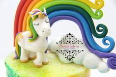 Unicorn fondant cake topper Rice Krispies, Cake Toppers, Fondant, Unicorn, My Etsy Shop, Teddy Bear, Sugar, Desserts, Food