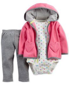 Carter's Baby Girls' 3-Piece Pink Heart Cardigan, Pants and Bodysuit Set