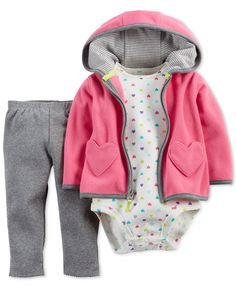 Carter's Baby Girls' 3-Piece Pink Heart Cardigan, Pants and Bodysuit Set