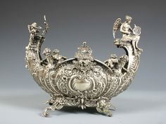 19th century silver centerpiece   711: DUTCH SILVER ROCOCO STYLE CENTERPIECE