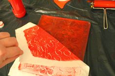 Follow along as she uses her Gelli plate to print on fabric!