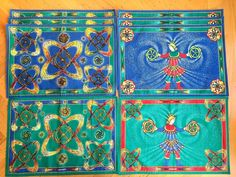 "Hermes Vintage set of 10  ""Feux d'Artifice""  placemats (pillows?) in Hermes box #Hermes"
