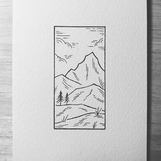 Little mountain scene! Wishing I was higher up in colder temperatures. so hot this heatwave is hopefully over soon. What are you doing in this heatwave? Easy Drawings Sketches, Minimal Drawings, Cute Easy Drawings, Cool Art Drawings, Tumblr Cartoon, Simple Canvas Paintings, Square Art, Nature Drawing, Simple Art