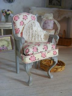 12th scale shabby chic chair by shabbychicminis on Etsy, $45.00