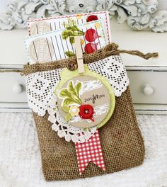 INSPIRATION: a set of hand-stamped recipe cards wrapped in an embellished burlap drawstring bag